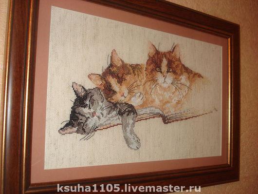 """Животные ручной работы. Ярмарка Мастеров - ручная работа. Купить картина """"три кота"""". Handmade. Хлопковое мулине"""