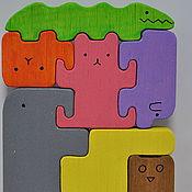 """Куклы и игрушки ручной работы. Ярмарка Мастеров - ручная работа Пазл """"Ноев ковчег""""  7 зверей. Handmade."""