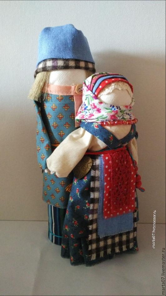 """Народные куклы ручной работы. Ярмарка Мастеров - ручная работа. Купить Кукла-оберег""""Мурашинская парочка"""". Handmade. Тёмно-синий, лён"""