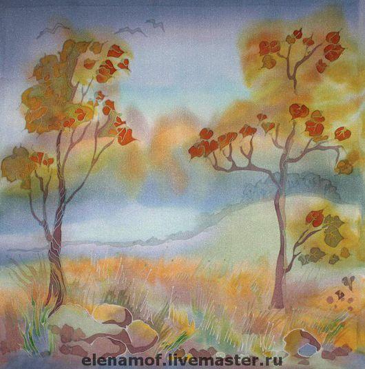 Шали, палантины ручной работы. Ярмарка Мастеров - ручная работа. Купить Платок Осень. Handmade. Шелковый платок, осень