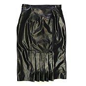 Одежда handmade. Livemaster - original item Leather skirt with pleats Nat. Handmade.