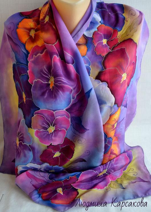 Шарфы и шарфики ручной работы. Ярмарка Мастеров - ручная работа. Купить батик шарф из натурального крепдешина Виола. Handmade. Комбинированный