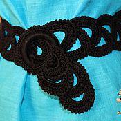Аксессуары handmade. Livemaster - original item Belt-knitted belt . black cotton.. Handmade.