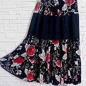 Одежда ручной работы. Ярмарка Мастеров - ручная работа Шиповник цветет - летняя  юбка из натуральной ткани + нижняя юбка.. Handmade.