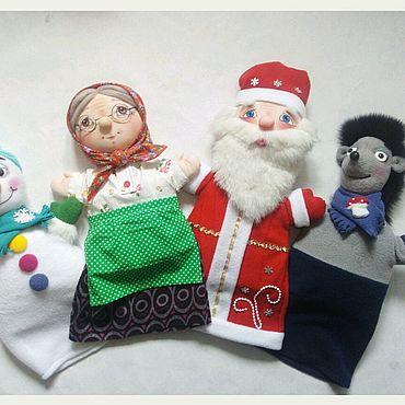 Куклы и игрушки ручной работы. Ярмарка Мастеров - ручная работа Кукольный театр.Перчаточные куклы Дед Мороз,Бабушка,Снеговик и Ежик. Handmade.