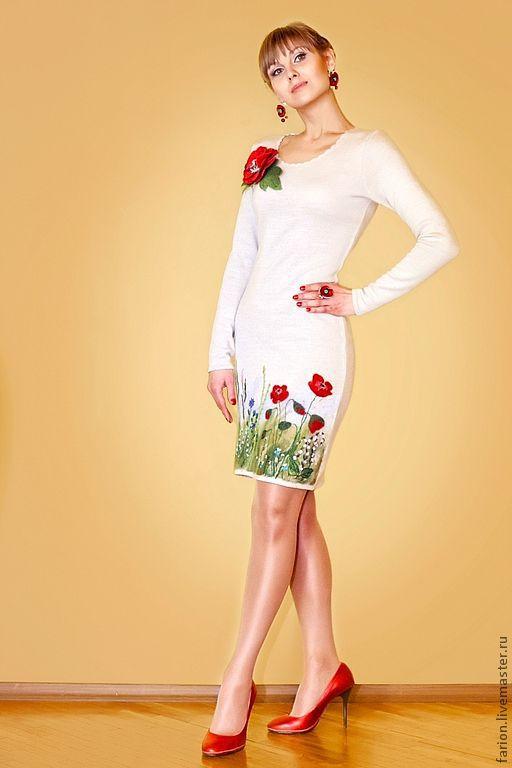 Платья ручной работы. Ярмарка Мастеров - ручная работа. Купить Платье Рената. Handmade. Цветочный, бисер, вышивка, ленты атласные