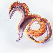 """Куклы и игрушки ручной работы. Ярмарка Мастеров - ручная работа статуэтка """"Дракон с цветами""""(весенний дракон рассвета, дракон девочка). Handmade."""