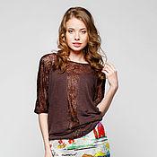 Одежда ручной работы. Ярмарка Мастеров - ручная работа Блуза шоколад из вискозы с кружевом. Handmade.
