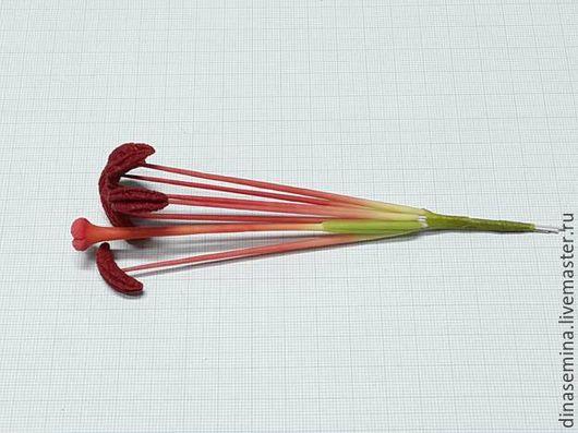 Тычинки для лилии готовые лепные ручной работы из холодного фарфора окрашенные на проволоке комплект 6тычинок+1пестик. Таиланд.