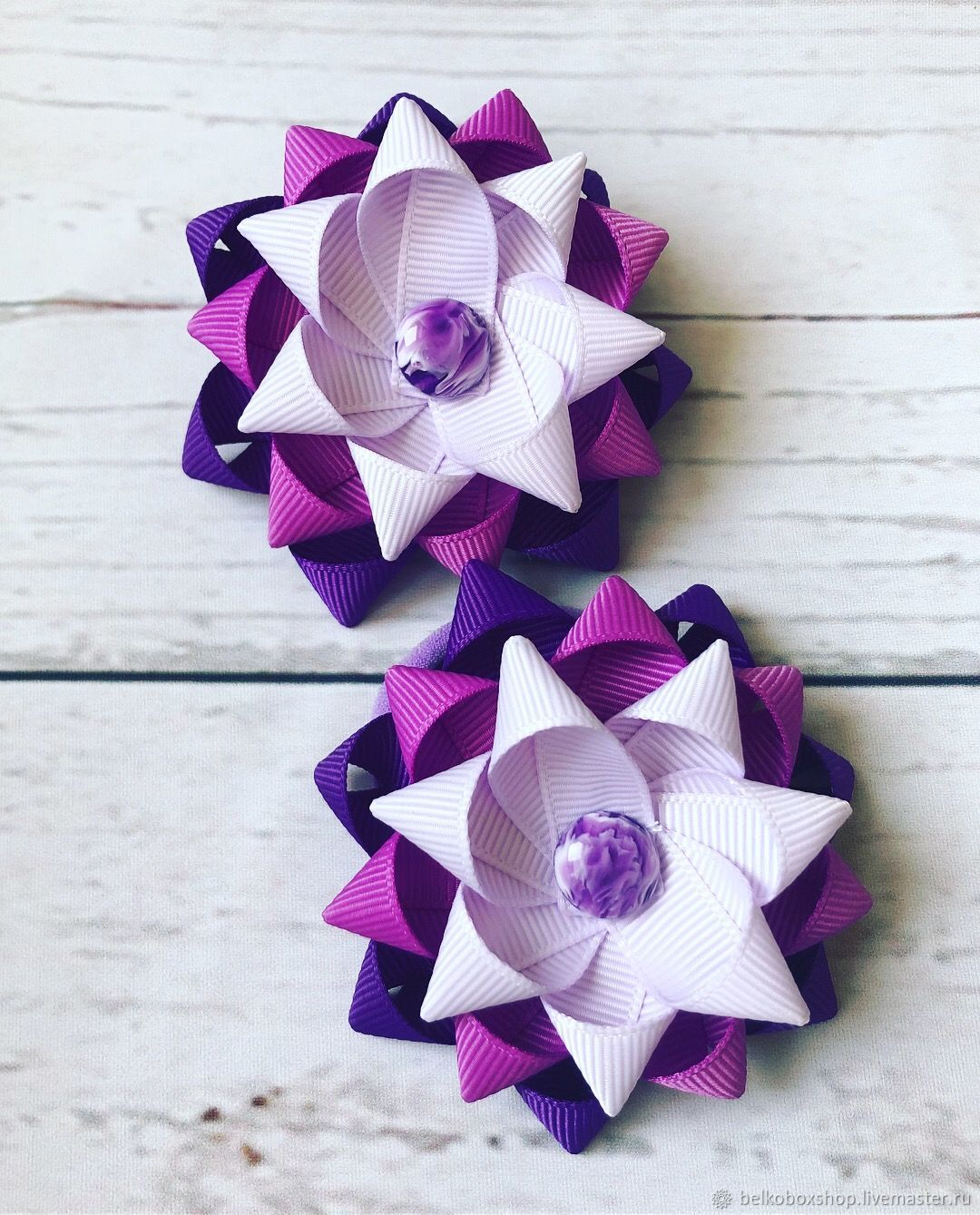 Hair bow of REP ribbons 'Lavender', Hairpins, Moscow,  Фото №1