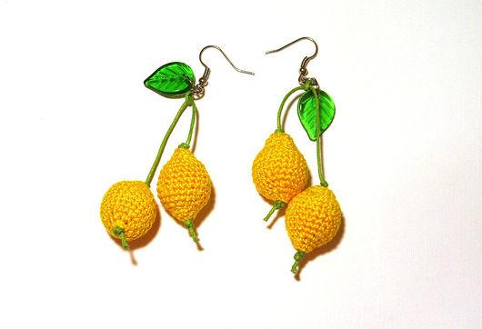 """Серьги ручной работы. Ярмарка Мастеров - ручная работа. Купить серьги """"Лимончики"""". Handmade. Акрил, фурнитура, бусины, шнур"""