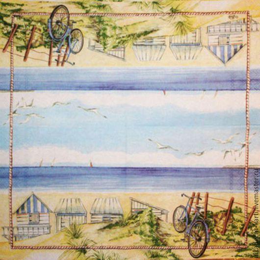 Декупаж и роспись ручной работы. Ярмарка Мастеров - ручная работа. Купить Велосипед на пляже (13303325) - салфетка для декупажа. Handmade. Салфетка