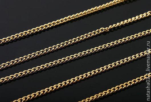 Для украшений ручной работы. Ярмарка Мастеров - ручная работа. Купить Цепочка тонкая -- звено 1 мм gold plated Южная Корея. Handmade.