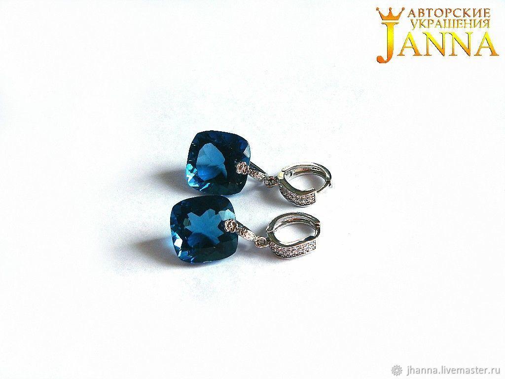 Topaz.  ' Sabira' earrings with LONDON BLUE Topaz 36.5 carats, Earrings, Volgograd,  Фото №1