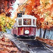 Картины и панно ручной работы. Ярмарка Мастеров - ручная работа Осенний трамвай. Handmade.