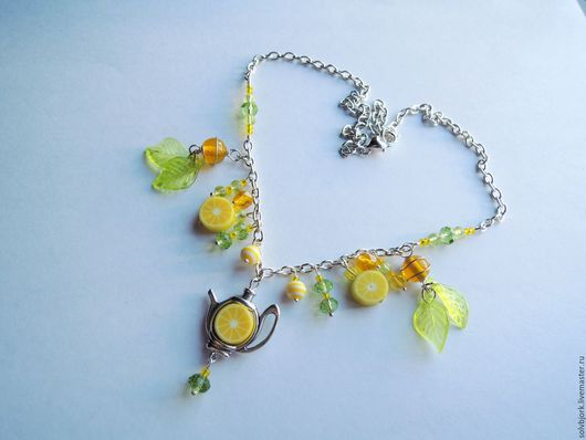"""Колье, бусы ручной работы. Ярмарка Мастеров - ручная работа. Купить Колье """"Чай с лимоном"""". Handmade. Желтый, зеленый, бисер"""