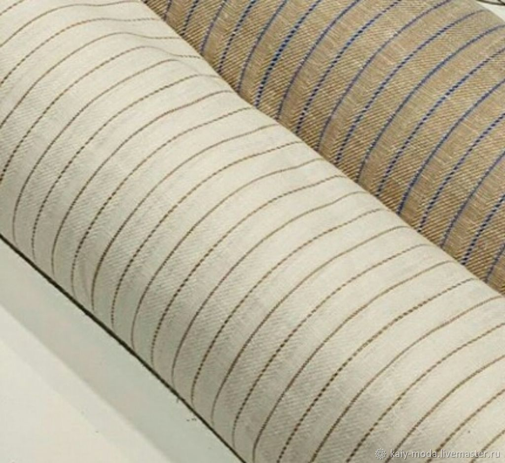 Linen in a thin stripe-beige on milk, Fabric, Moscow,  Фото №1