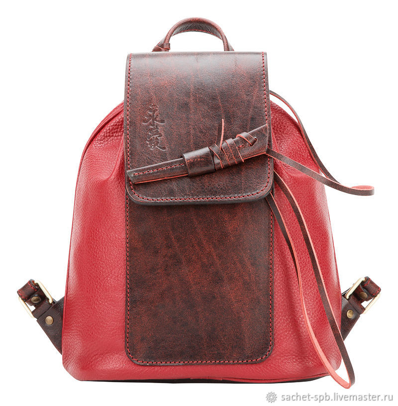 Womens leather backpack 'Geisha' (cranberry), Backpacks, St. Petersburg,  Фото №1