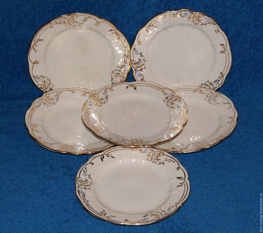 Винтажная посуда. Ярмарка Мастеров - ручная работа. Купить набор пирожковых тарелок барановка с золочением. Handmade. Тарелки, винтажный стиль