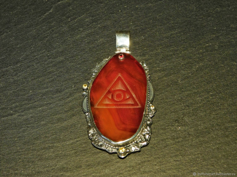 Amulet amulet the 'Eye'.Silver,gold,carnelian,citrines,garnet, Amulet, Ekaterinburg,  Фото №1