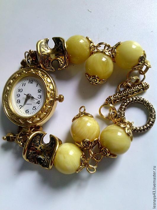 Часы ручной работы. Ярмарка Мастеров - ручная работа. Купить Часики из янтаря. Handmade. Желтый, часы-браслет, гематит