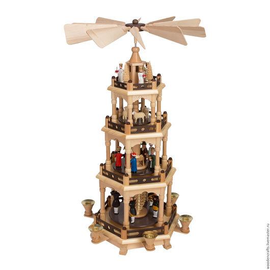 Подсвечники ручной работы. Ярмарка Мастеров - ручная работа. Купить Рождественская пирамида. Handmade. Подарок на новый год, дерево клен