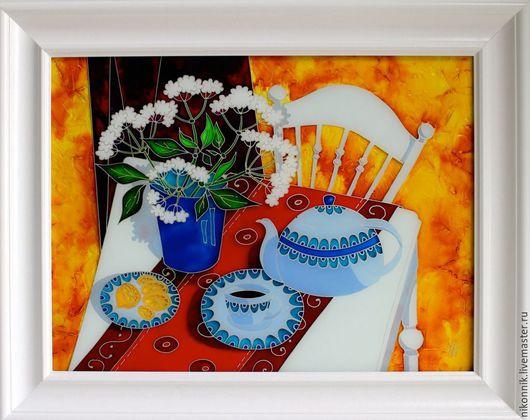 Натюрморт ручной работы. Ярмарка Мастеров - ручная работа. Купить Утренний чай. Handmade. Разноцветный, солнечный, цветы, чайник, столовая