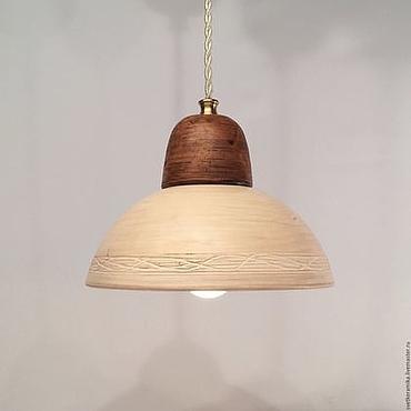 Для дома и интерьера ручной работы. Ярмарка Мастеров - ручная работа Керамический светильник с глубоким плафоном (бело-коричневый). Handmade.