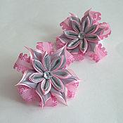 """Работы для детей, ручной работы. Ярмарка Мастеров - ручная работа Резинки для волос для девочки """"Розовое в сером"""". Handmade."""
