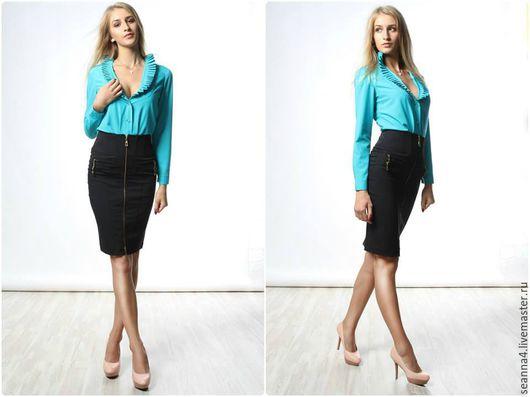 """Блузки ручной работы. Ярмарка Мастеров - ручная работа. Купить Эффектная блузка """"Бирюзовые складки"""" из хлопка в любом цвете и размере. Handmade."""