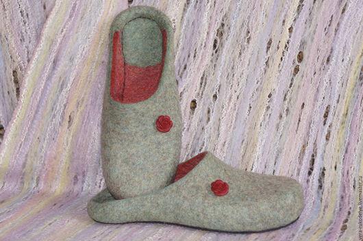 """Обувь ручной работы. Ярмарка Мастеров - ручная работа. Купить Тапочки валяные """"Летний денек"""" Стиль-минимализм. Handmade. Комбинированный"""