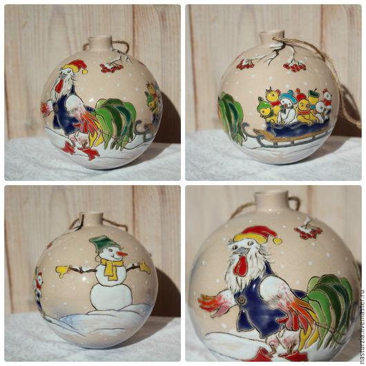 Новый год 2017 ручной работы. Ярмарка Мастеров - ручная работа. Купить Елочный шар Петушиный папа керамика. Handmade. Белый