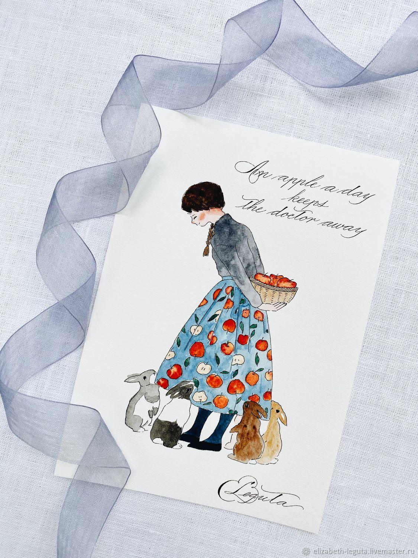 Иллюстрация с каллиграфией, Открытки, Москва,  Фото №1