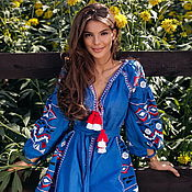 Одежда handmade. Livemaster - original item Embroidered Dress Boho Chic Blue Dress Vyshyvanka. Handmade.