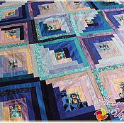 """Для дома и интерьера ручной работы. Ярмарка Мастеров - ручная работа """"Синева"""" № 192 Лоскутное покрывало / одеяло. Пэчворк. Handmade."""
