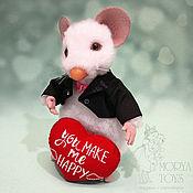 Куклы и игрушки handmade. Livemaster - original item Jimmy The White Mouse. Handmade.
