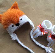 Работы для детей, ручной работы. Ярмарка Мастеров - ручная работа Шапочка Лисичка + пинетки. Handmade.