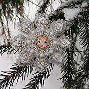 Украшения handmade. Livemaster - original item Brooch snowflake beaded pearl white silver. Handmade.