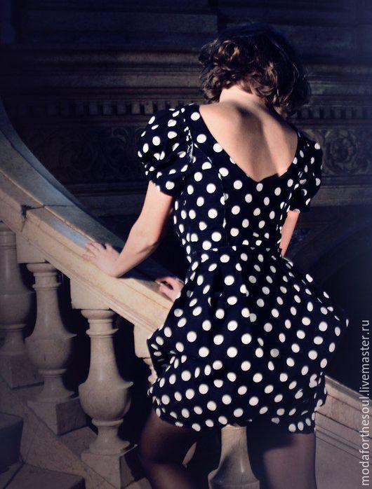 Платья ручной работы. Ярмарка Мастеров - ручная работа. Купить Платье в горошек. Handmade. Черный, горох, юбка-тюльпан, горошек