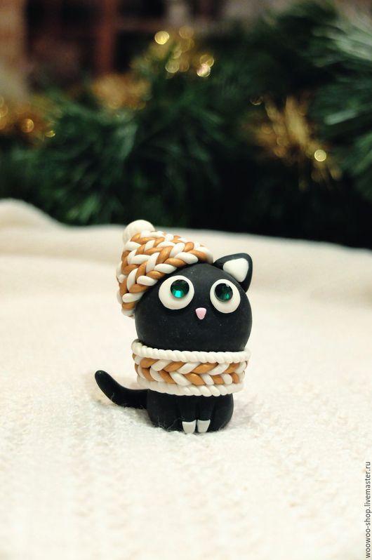 Новый год 2017 ручной работы. Ярмарка Мастеров - ручная работа. Купить Кошка из полимерной глины. Handmade. Черный, сувенир кошка