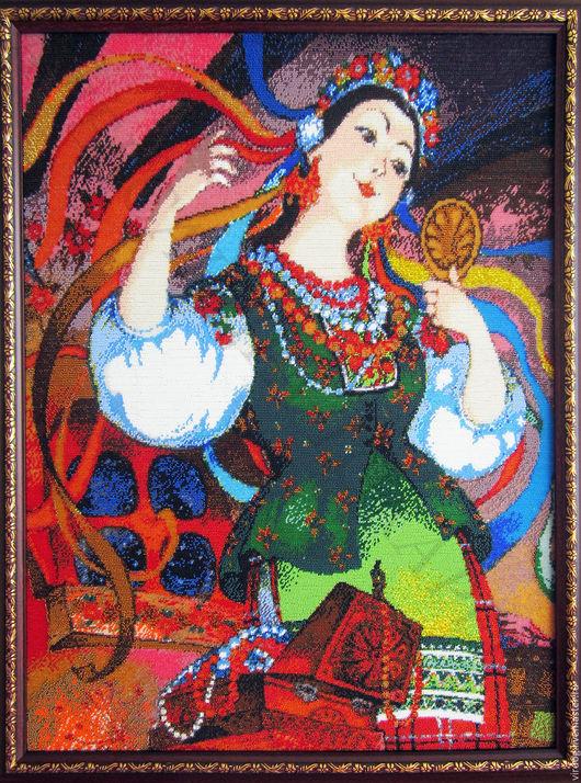 """Вышивка ручной работы. Ярмарка Мастеров - ручная работа. Купить Набор для вышивания бисером """" Украиночка """". Handmade."""