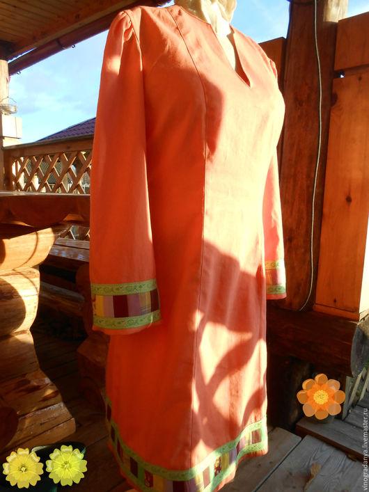 Платья ручной работы. Ярмарка Мастеров - ручная работа. Купить платье лоскутное лососевого цвета  в русском стиле. Handmade. Лососевый