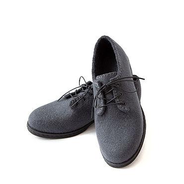 Обувь ручной работы. Ярмарка Мастеров - ручная работа Валяные туфли Графит. Handmade.