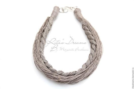 Колье из натурального неокрашенного льна природного серого цвета - лаконичный аксессуар для любителей натурального стиля.