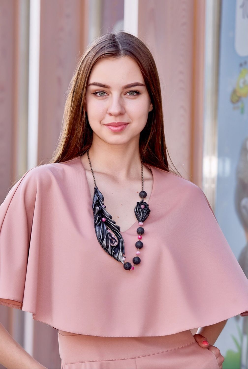 FEATHER necklace with RHODONITE ( Leather), Necklace, Kaluga,  Фото №1