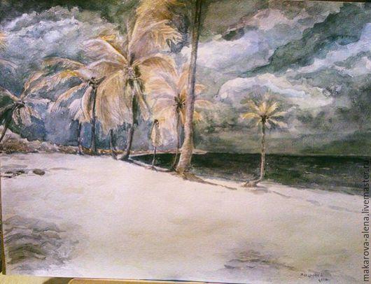 """Пейзаж ручной работы. Ярмарка Мастеров - ручная работа. Купить """"Перед штормом"""". Handmade. Темно-серый, пальма, пальмы, акварель"""