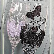 """Свадебный салон ручной работы. Ярмарка Мастеров - ручная работа Свадебные бокалы """"День и ночь"""". Handmade."""