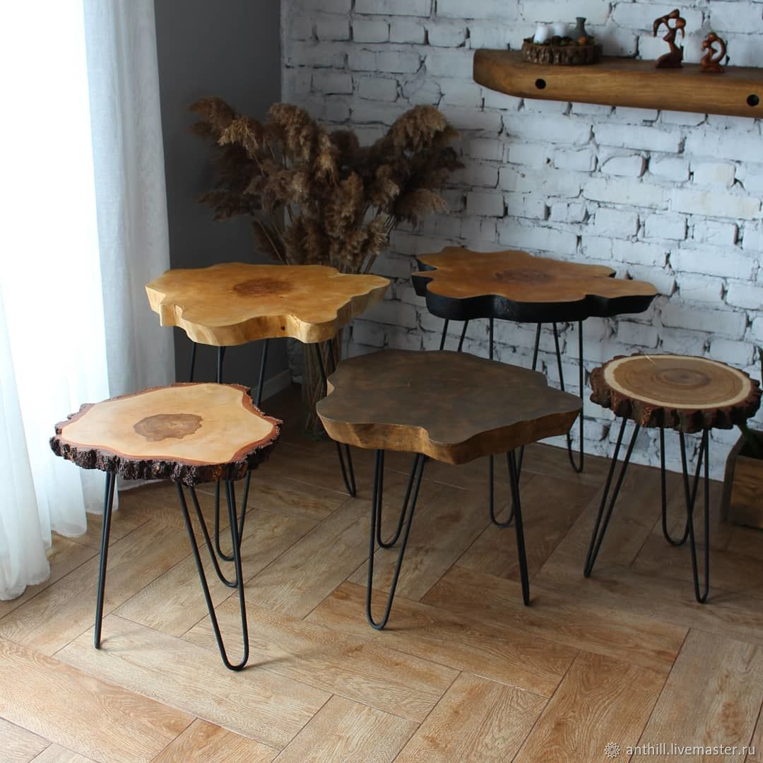 Столы из деревянных спилов, Столы, Базарный Сызган,  Фото №1