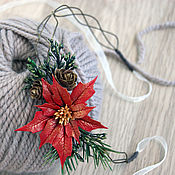 Украшения handmade. Livemaster - original item A wreath of poinsettia. Handmade.