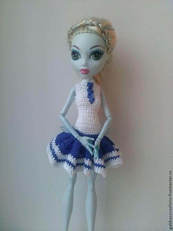 Как связать крючком платье для кукол монстер